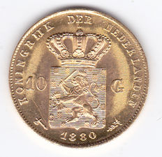 The Netherlands - 10 Guilders 1880 - Willem III - gold
