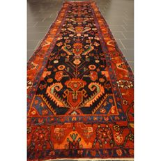 Antique Persian carpet, Heriz runner, made in Iran, antique carpet, 470 x 110cm