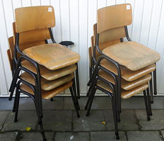 Eight industrial school chairs, wooden seat and tube frame - stackable - Netherlands/Belgium - 1960s