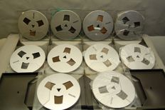 10 metallic Philips LP18 Reel to Reel audio tapes (High Output)