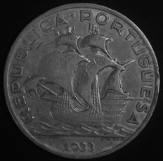 Portugal – 10 Escudos in SILVER – 1933 – Portuguese Republic – AG: 43.02 – UNC – No Reserve Price