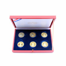 Netherlands - Complete gold set (6 medals) Juliana 75 years, 1974