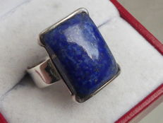 925 Silver seal ring with big natural Lapis Lazuli stone - size 18,75mm