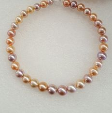 Multi color fresh water pearl strand necklace,approx 11.-15 mm