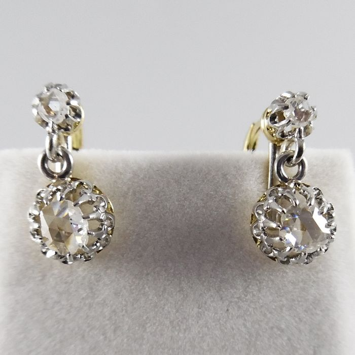 Antique earrings with rose diamonds, approx. 0.40 ct