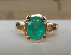 1.88 ct  CGL-GRS Certified Natural Green Emerald in New Ring of  14K Solid Yellow Gold  -  Ring Weight 5,40 Gram  -  Ring Size 17.5/55/7.5