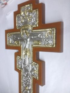 Traditional Byzantine Cross icon Jesus Christ,with several saints