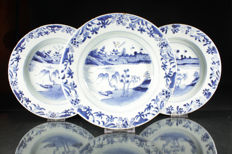 Three deep blue-white plates - China - 18th century