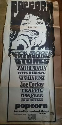 Original Poster From The 70´s. It refers To A Documental About The Rolling Stones, Bee Gees & Jimi Hendrix,