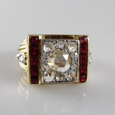 Yellow gold and platinum men´s/unisex ring with diamonds and red spinel, ring size 16.5 (52)