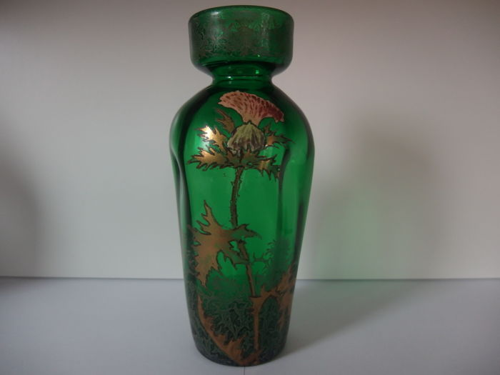 Legras et compagnie - Green Vase with lovely enamel thistle flowers and gold foilage