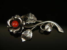 Antique floral brooch with coral, 925 silver