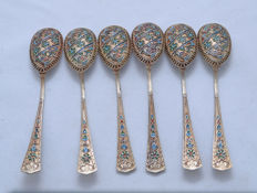 Teaspoon Set - 6 Teaspoons - Silver 84 - Enamel - Filigree - Art Deco - Russia - 1908-1917