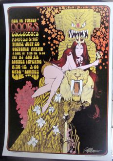 The Doors Dante's Inferno Concert Poster Victoria Arena 1967 Signed by Bob Masse
