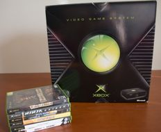 Original XBOX, console with 6 games
