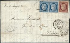 France 1851 - Letter with Boston destination with ruby 1 franc and pair of blue 25 centimes Signed Calves - Yvert no. 4 and 6