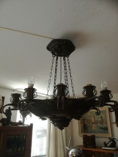 Winkelman & van der Bijl - Amsterdam School bronze and wrought-iron hanging lamp