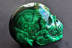 Finely detailed polished Malachite skull - 8.1 X 5.8 X 4.4 cm - 466 gm