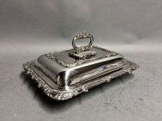 Silver plated double serving tray with removable knob, England, ca. 1880