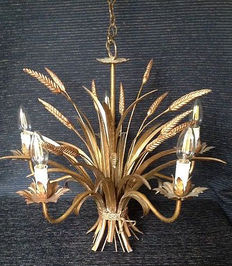 Large size gilded chandelier with ears of corn for five candle lamps - Italy - circa 1950