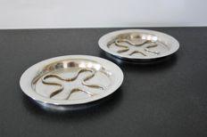 Christofle - Pair of bottle coasters, silver plated metal