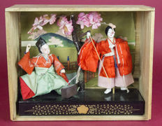 Doll set of a swordsmith and his wife, in the original case – Japan – ca. 1930-1940s (early Showa period)