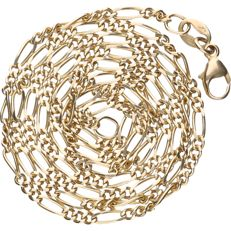 14 kt - Yellow gold Figaro link necklace - length: 50.5 cm