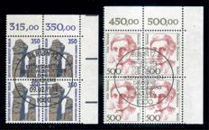 "Berlin 1986-90 cancelled collection with ""women"" and ""SWC"", each an edge block of four with ESSt., ex Michel no. 770 to 874"