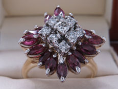 Certified gold cocktail ring with diamonds and rubies - 2.88 ct **No Reserve**