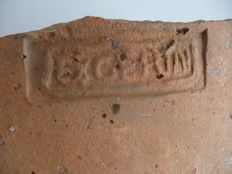 Roman pottery roof tile with stamp Exgerin of the army in the province of Germania - 21 x 17.5 cm