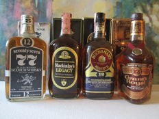 4 bottles - from the 70's: Mackinlay's Legacy 12 years & Buchanan's Reserve 12 years & Seventy Seven 12 years & Grant's Royal 12 years