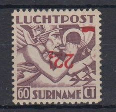 Suriname 1945 - Airmail, inverted overprint - NVPH LP24fa
