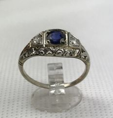 Liberty style ring from the early 20th century, with 0.20 ct diamonds and a sapphire