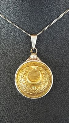 Vintage 925 Sterling Silver Pendant and chain with An 1880s French Army of North Africa officer's button.
