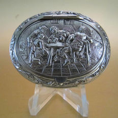 Silver snuff box with Jan Steen presentation - Netherlands - 1911