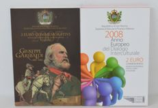 San Marino - 2 euro, 2007 and 2008, commemorative coins in blister