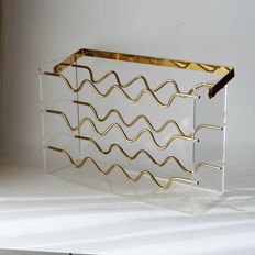 Designer unknown - Regency style brass and acrylic wine rack for 12 bottles