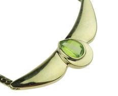 14 kt gold necklace / neck jewellery with pear cut peridot - 49 cm