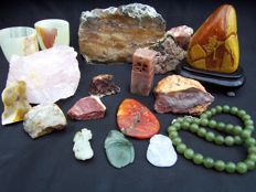 Collection of mineral stones - cut, polished and natural - 40 to 150 mm - 3000 gm