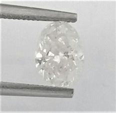 Oval Diamond of 1.32 carat , E color , SI2 clarity , AIG certified + Laser Inscription on Girdle