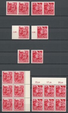 German Empire 1945 - SA and SS - Michel 909/910 in block of 6, 909u/910u (4x imperforate)