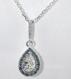 Necklace with pear-shaped diamond, decorated with blue diamonds, total: 0.45 ct