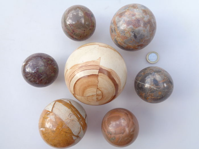 Seven Decorative Balls Of Marble And Stone 2nd Half Of 20th