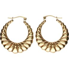 18 kt - Yellow gold tooled earrings (tapered towards the centre) - Diameter: 2.8 cm
