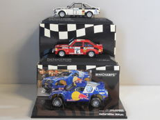 Minichamps - Scale 1/43 - Lot with 3 rally models: 2 x Ford Escort II RS1800 & 1 x Volkswagen Race Touareg