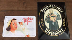 2 x wonderful German metal advertising signs. Warsteiner and Franziskaner