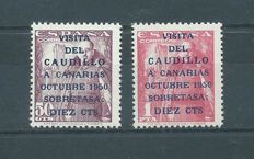 Spain 1950 - 'Visita del Caudillo a Canarias' (Visit of the Caudillo to the Canary Islands) - Edifil no. 1088/1089