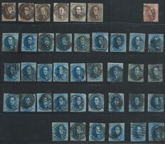 Belgium - set of 1,530 stamps, cancelled for study of cachets - between COB 6 and 300,