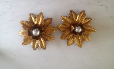 Adriano Baccianti for Fla - Pair of leaves vintage wall lamps