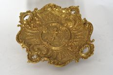 Very beautiful antique German gilded bronze dish, 1880